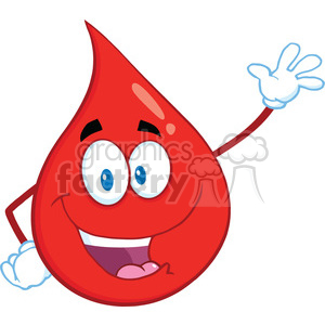 Royalty Free RF Clipart Illustration Happy Red Blood Drop Cartoon Mascot Character Waving For Greeting clipart. Royalty-free image # 396976
