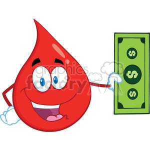 Royalty Free RF Clipart Illustration Happy Red Blood Drop Cartoon Mascot Character Showing A Dollar Bill clipart. Commercial use image # 396986