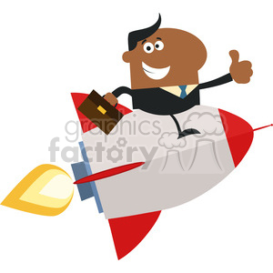8341 Royalty Free RF Clipart Illustration African American Manager Flying On The Rocket And Giving Thumb Up Flat Style Vector Illustration clipart. Royalty-free image # 397006