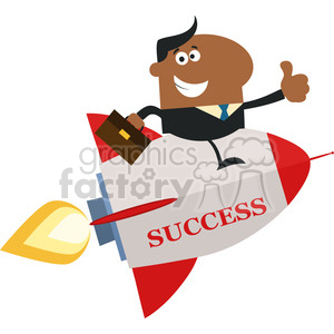 8342 Royalty Free RF Clipart Illustration African American Manager Flying On The Rocket And Giving Thumb Up Flat Style Vector Illustration With Text clipart. Royalty-free image # 397016