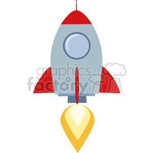 8325 Royalty Free RF Clipart Illustration Rocket Ship Start Up Concept Flat Style Vector Illustration