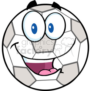 Royalty Free RF Clipart Illustration Happy Soccer Ball Cartoon Character clipart. Royalty-free image # 397046