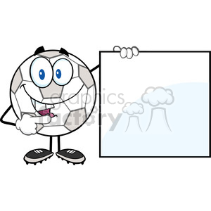 Royalty Free RF Clipart Illustration Happy Soccer Ball Cartoon Character Showing A Blank Sign clipart. Royalty-free image # 397056