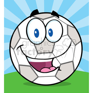 Royalty Free RF Clipart Illustration Happy Soccer Ball Cartoon Character On Grass clipart. Royalty-free image # 397066