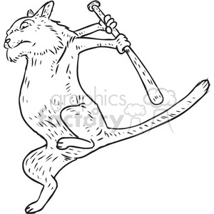 cat with a bat vector RF clip art images clipart. Commercial use image # 397075