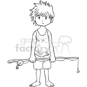 boy holding a fishing pole clipart. Commercial use image # 397095