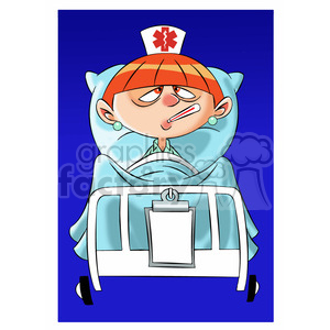 betty the cartoon nurse feeling sick