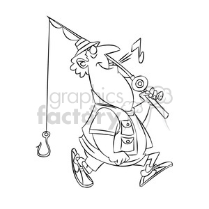 stan the cartoon fishing character whistling black white clipart. Commercial use image # 397399