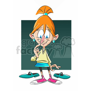 mary the cartoon character trying on shoes clipart. Commercial use image # 397449