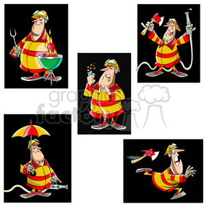 frank the cartoon firefighter image set clipart. Commercial use image # 397459