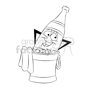 cartoon bottle of champagne chillin in a bucket of ice black and white vector clipart. Commercial use image # 397479