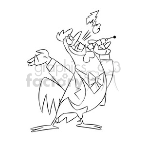 character mascot cartoon chicken bird farm sing singing black+white