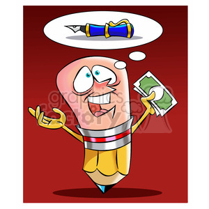 woody the cartoon pencil character wanting to buy a pen clipart. Commercial use image # 397559