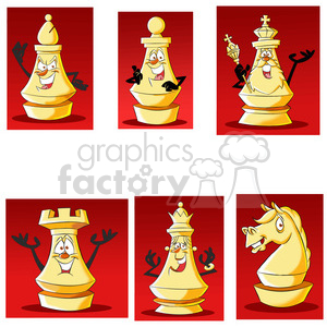 cartoon chess piece clip art set clipart. Royalty-free image # 397649