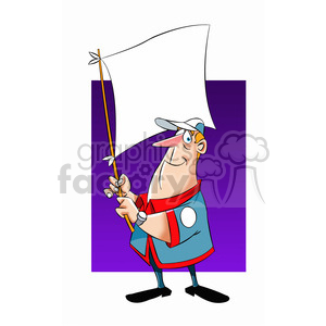 Sam holding up a white flag clipart. Royalty-free image # 397669