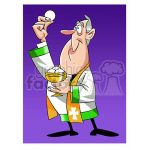 paul the cartoon priest character holding wafer clipart. Royalty-free image # 397689