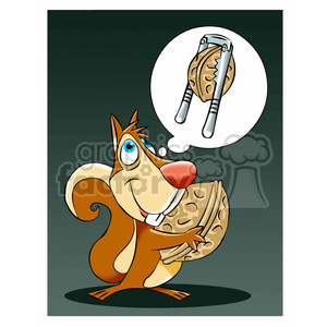luke the cartoon squirrel dreaming of a nut cracker clipart. Royalty-free image # 397739