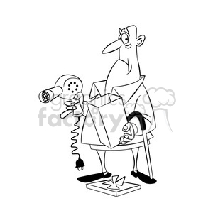 max the cartoon senior character opening a gift black white clipart. Royalty-free image # 397749
