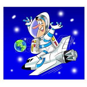 scott the astronaut cartoon character riding space shuttle clipart. Royalty-free image # 397779