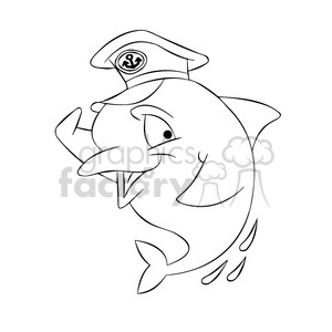 dallas the cartoon dolphin wearing a captain hat black white clipart. Royalty-free image # 397789