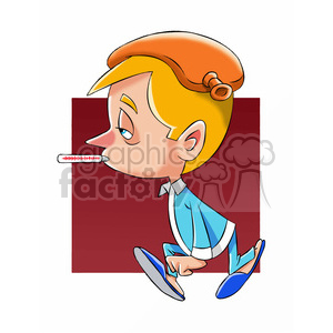 small boy feeling sick cartoon clipart. Commercial use image # 397809