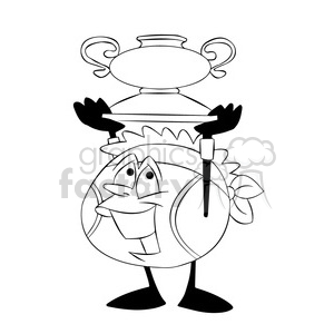 terry the tennis ball cartoon character holding a trophy black white