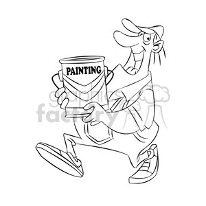Sam carrying can of paint black white clipart. Commercial use image # 397829