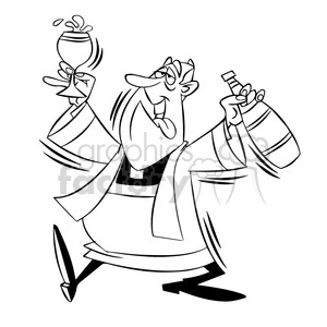 paul the cartoon priest character getting drunk black white