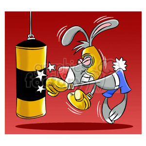 cartoon bunny mascot punching boxing bag clipart. Royalty-free image # 397859
