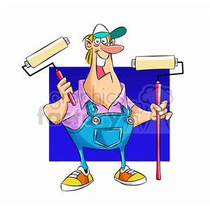 Sam the painter cartoon mascot clipart. Royalty-free image # 397879