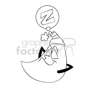 rocky the cartoon moon character sleeping black white clipart. Royalty-free image # 397899