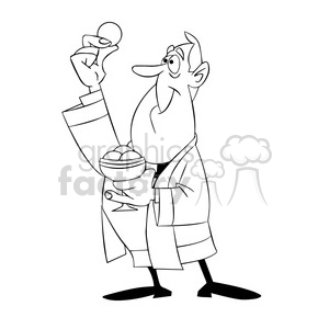 paul the cartoon priest character holding wafer black white clipart. Royalty-free image # 397909