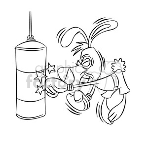 cartoon bunny mascot punching boxing bag black white clipart. Commercial use image # 397919