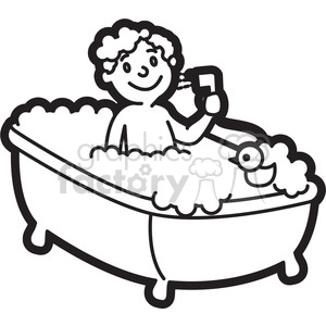 boy taking a bath cartoon in black and white clipart. Commercial use image # 397927
