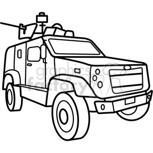 military armored M ATV vehicle outline clipart. Commercial use image # 397987
