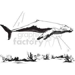 large whale outline vector clipart. Royalty-free image # 398027