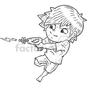 boy shooting ray gun vector illustration clipart. Commercial use image # 398087