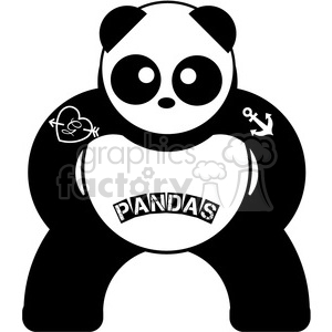 panda symmetrical bear with tattoos