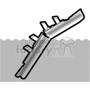 large ship sinking in the ocean black and white clipart. Commercial use image # 398117