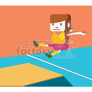 olympic long jump sports character illustration clipart. Commercial use image # 398147