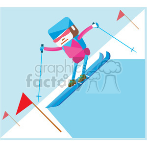 olympic alpine skiing sports character illustration clipart. Commercial use image # 398157