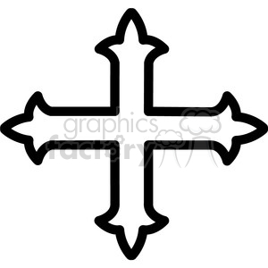 orthodox cross outline vector icon clipart. Royalty-free image # 398838