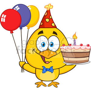 royalty free rf clipart illustration yellow chick cartoon character wearing a party hat and holding balloons and a birthday cake vector illustration isolated on white clipart. Royalty-free image # 398878