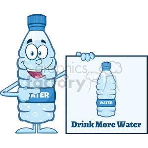 royalty free rf clipart illustration water plastic bottle cartoon mascot character holding and pointing to a banner with text vector illustration isolated on white clipart. Commercial use image # 398888
