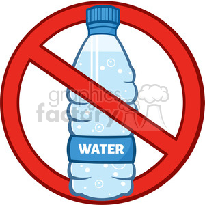 royalty free rf clipart illustration restricted symbol over a water plastic bottle cartoon illustratoion vector illustration isolated on white clipart. Royalty-free image # 398898