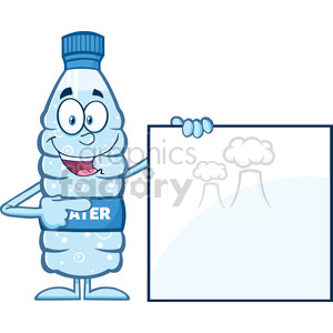 royalty free rf clipart illustration water plastic bottle cartoon mascot character holding and pointing to a blank sign vector illustration isolated on white clipart. Commercial use image # 398907