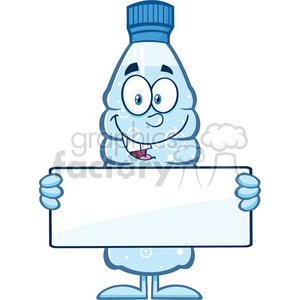 royalty free rf clipart illustration water plastic bottle cartoon mascot character holding a blank sign vector illustration isolated on white clipart. Royalty-free image # 398917
