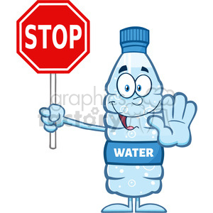 royalty free rf clipart illustration smiling water plastic bottle cartoon mascot character gesturing and holding a stop sign vector illustration isolated on white clipart. Commercial use image # 398935
