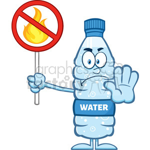royalty free rf clipart illustration angry water plastic bottle cartoon mascot character holding a no fire sign vector illustration isolated on white clipart. Commercial use image # 398945