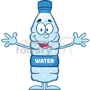 royalty free rf clipart illustration smiling water plastic bottle cartoon mascot character wanting a hug vector illustration isolated on white clipart. Commercial use image # 398963